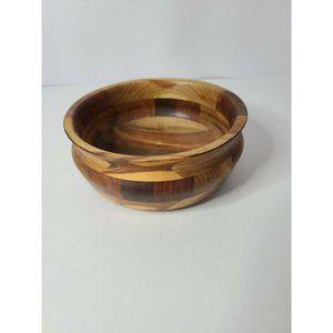 "Teak Wood Candy Nut Dish Trinket Bowl 5.5"" x 2.5"""